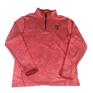 TEXAS TECH 1/4 Zip Soft Red COLOSSEUM Pull Over  M